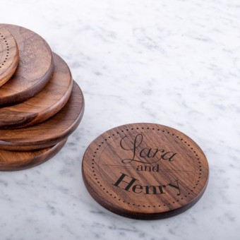 Engraved Wooden Walnut Coaster (Round)