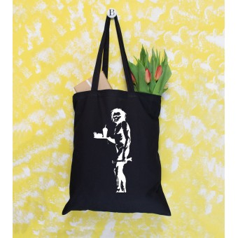 Banksy Themed Tote Bags - Black