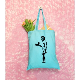 Banksy Themed Tote Bags - Blue