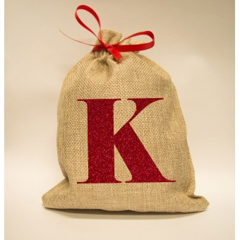 Personalised Glitter Initial Mini Christmas Sack