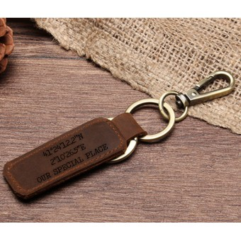 Personalised Leather Keyring - Large