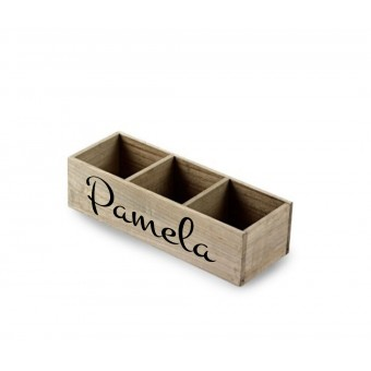 Three Compartment Wooden Box