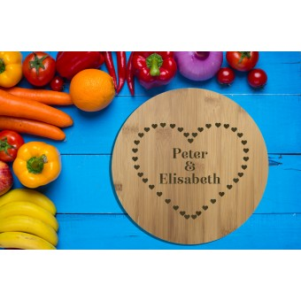 Personalised Bamboo Serving or Cutting Board - Round