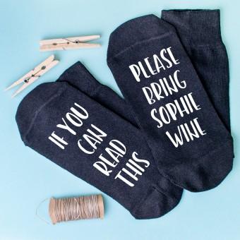 Personalised Socks Bring Wine