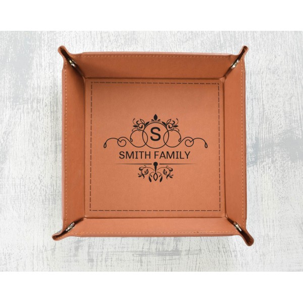 Personalised Leather Catchall Tray