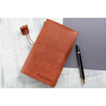 Personalised Leather Notebook Engraved Journal Diary School Office Gift