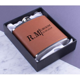 Personalised Leather Hip Flask with Gift Box