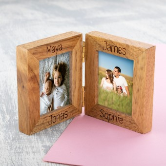 Personalised 2 Photo Frame Oak Wooden Multi Picture Family Frame