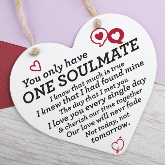 Wooden Heart Plaque One Soulmate PPL-104