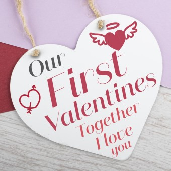 Metal Heart Plaque First Valentines PPL-108