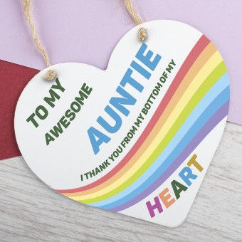 Metal Heart Plaque Awesome Auntie PPL-133