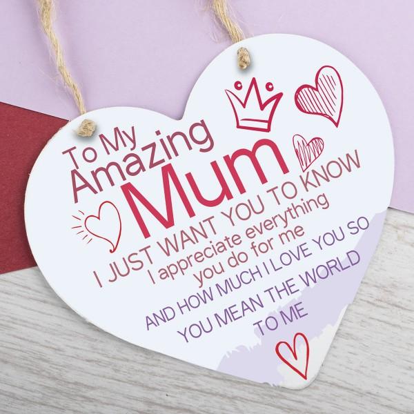Metal Heart Plaque Amazing Mum PPL-137