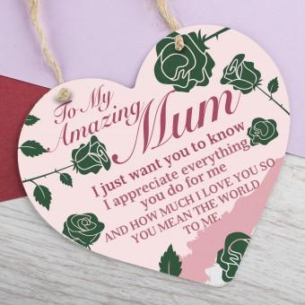Metal Heart Plaque Amazing Mum PPL-138