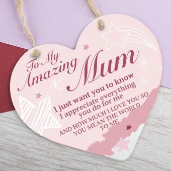 Metal Heart Plaque Amazing Mum PPL-141