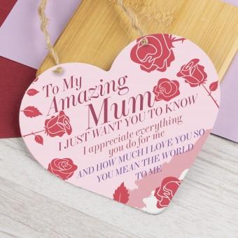 Metal Heart Plaque Amazing Mum PPL-143