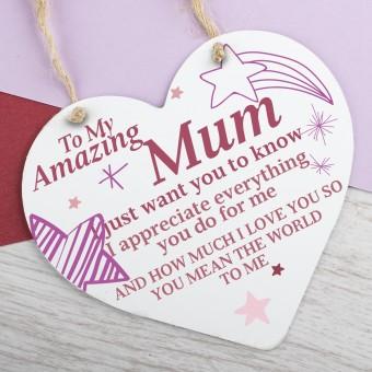 Metal Heart Plaque Amazing Mum PPL-144