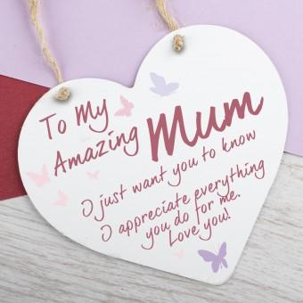 Metal Heart Plaque Amazing Mum PPL-145