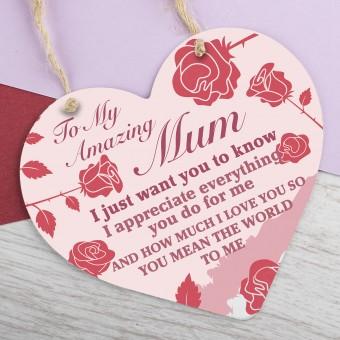 Metal Heart Plaque Amazing Mum PPL-146