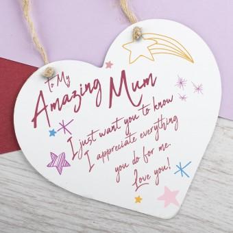 Metal Heart Plaque Amazing Mum PPL-147