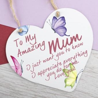 Metal Heart Plaque Amazing Mum PPL-148