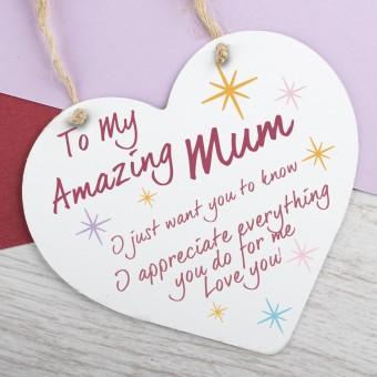 Metal Heart Plaque Amazing Mum PPL-149