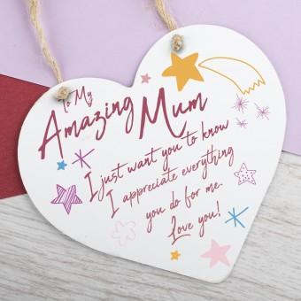 Metal Heart Plaque Amazing Mum PPL-150