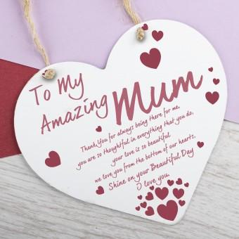 Metal Heart Plaque Amazing Mum PPL-156