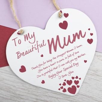 Metal Heart Plaque Beautiful Mum PPL-157