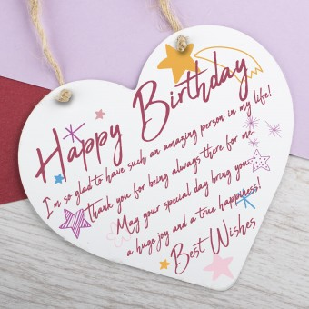 Metal Heart Plaque Happy Birthday PPL-161