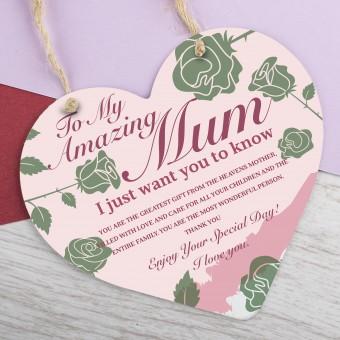 Metal Heart Plaque Amazing Mum PPL-173