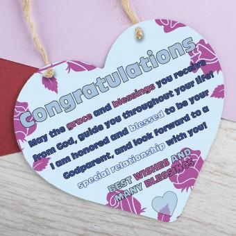 Metal Heart Plaque Christening PPL-176