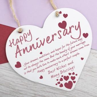 Metal Heart Plaque Happy Anniversary PPL-179