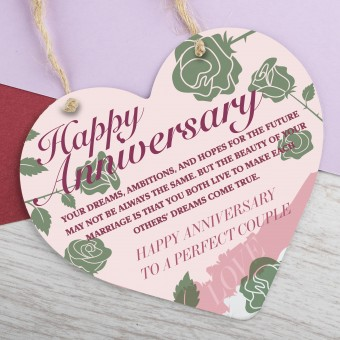 Metal Heart Plaque Happy Anniversary PPL-180