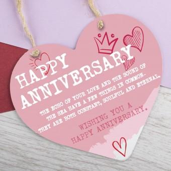 Metal Heart Plaque Happy Anniversary PPL-181
