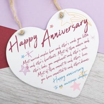 Metal Heart Plaque Happy Anniversary PPL-183