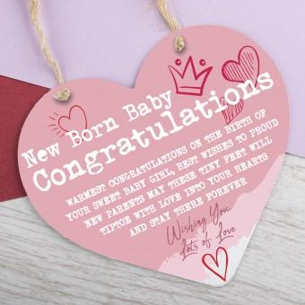 Metal Heart Plaque Congratulations New Born Baby PPL-194