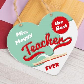 Personalised Metal Heart Plaque The Best Teacher PPL-202