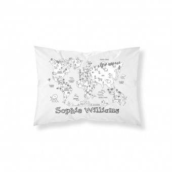 Personalised Colour-In World Map Pillowcase