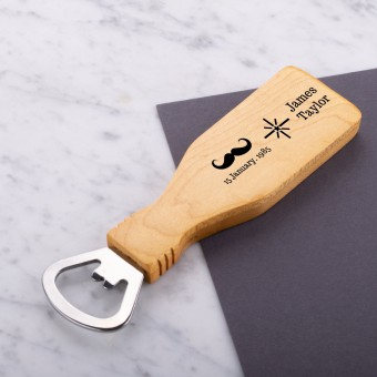 Personalised Engraved Magnetic Wooden Bottle Opener - Mustache