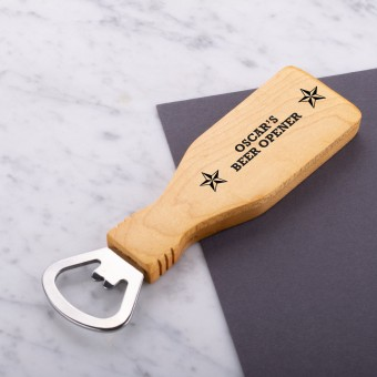 Personalised Engraved Magnetic Wooden Bottle Opener - Star